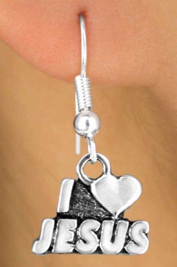"Christian Sterling Silver- "" I Love Jesus"" Earrings"