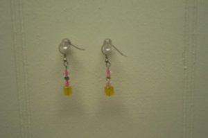 Yellow Cube Earrings