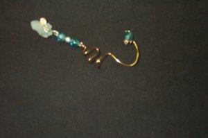 Quartz Crystal Blue Copper Ear Cuff