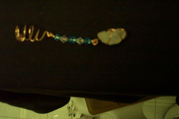 Quartz Crystal Blue Copper Dangle Cuff