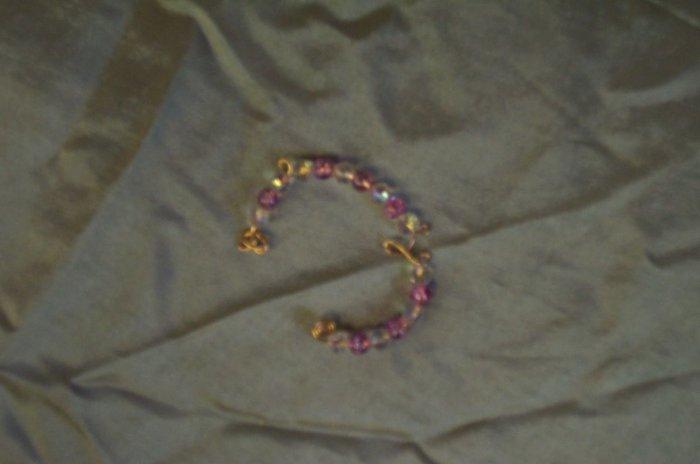 Pink Glass Ear Cuff