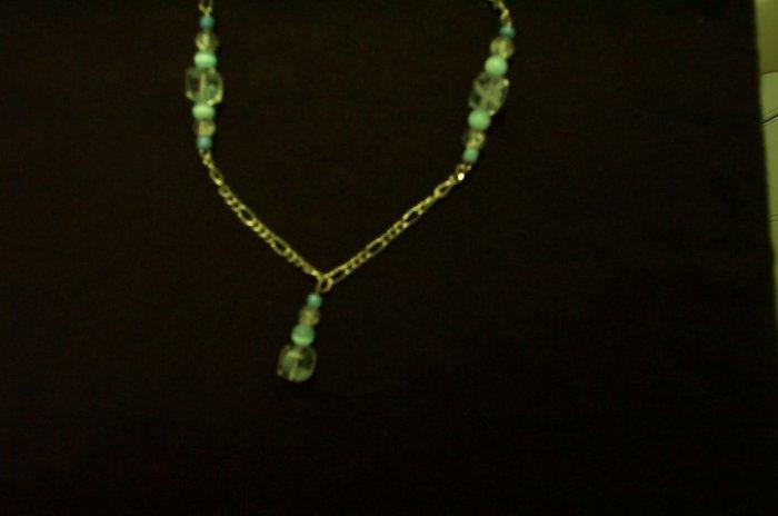 Blue Glass Swirl Necklace