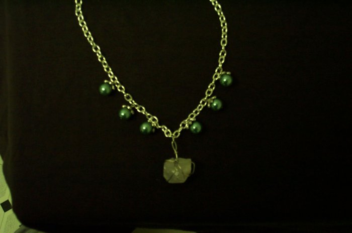Elven Quartz Crystal with Green Pearls Necklace