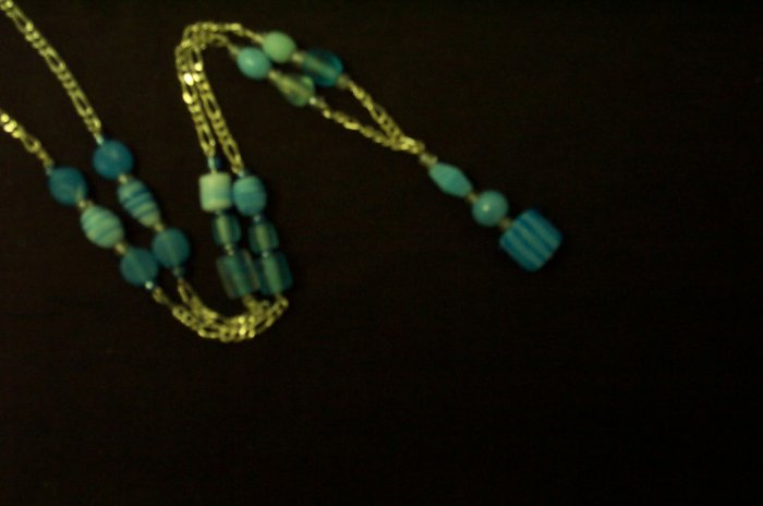 Long Silver Blue Glass Bead Necklace