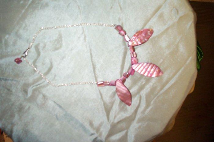 Pink Shell Elven Leaf Necklace