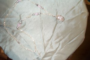 Quartz Crystal Pink Silver Necklace