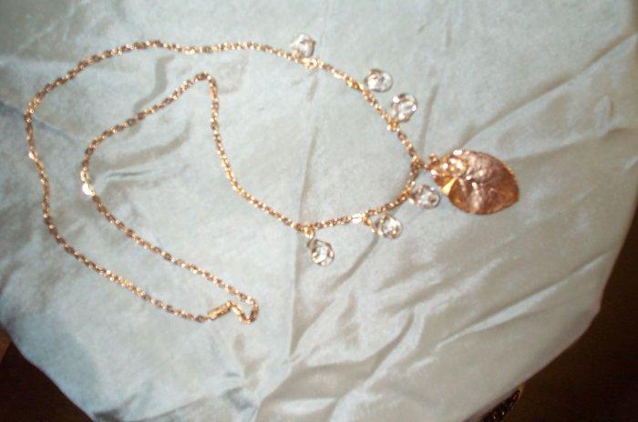 Golden Elven Leaf Tear Drop Necklace