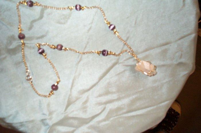 Quartz Crystal Cats Eye Dragonfly Necklace
