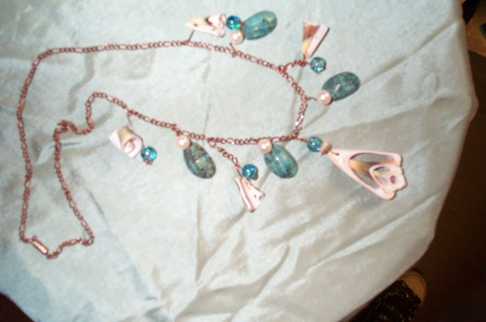 Copper Mermaid Shell Necklace