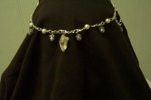 Gray Elven Pearl Quartz Crystal Circlet Celtic Renaissance