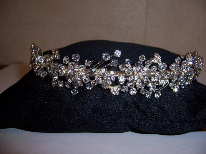 Flower Starburst Rhinestone Bridal Tiara Band