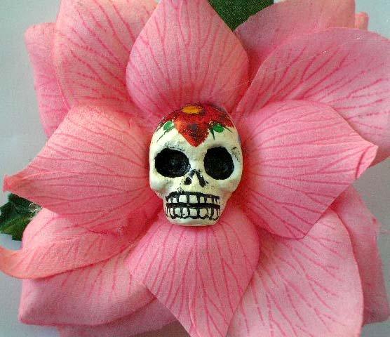 sugar skull, pink rose hair clip