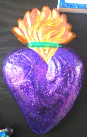 PURPLE SACRED HEART  ORNAMENT