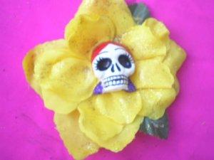 red head yellow flower calavera