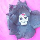 cross sugar skull black flower