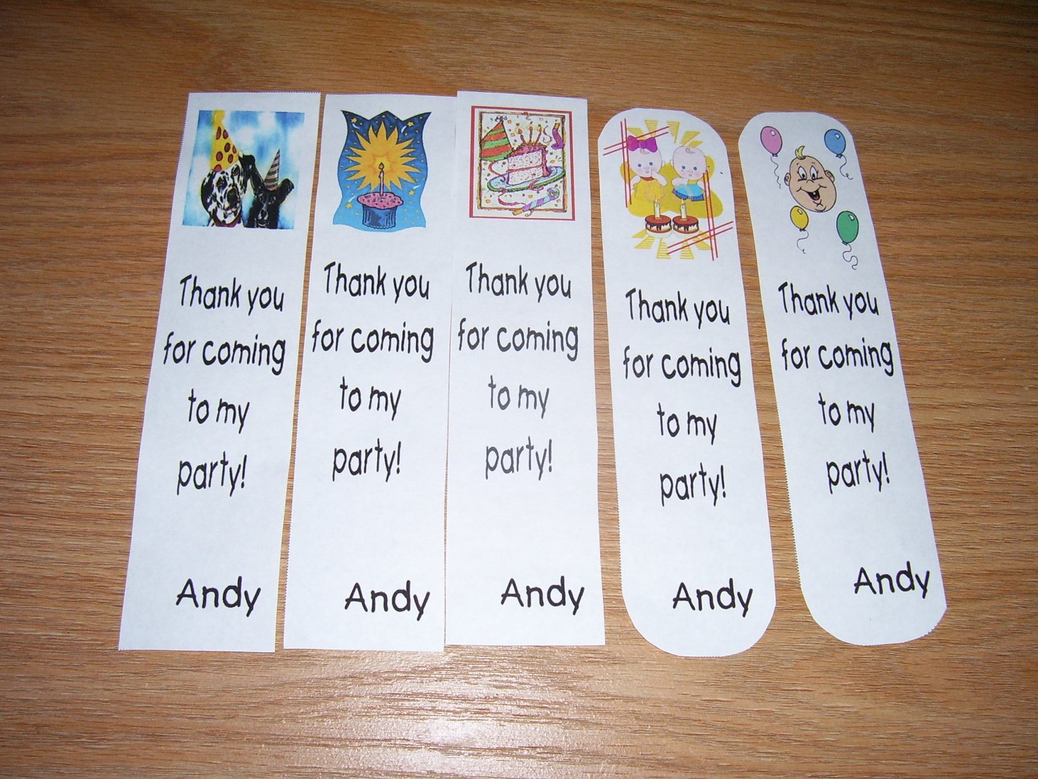 "25 Personalized Bookmarks Thank you for coming to my party - ""Andy"""