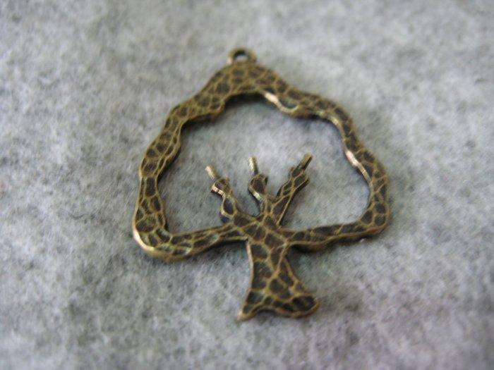 Tree Charm, Antique Brass, 24mm x 31mm