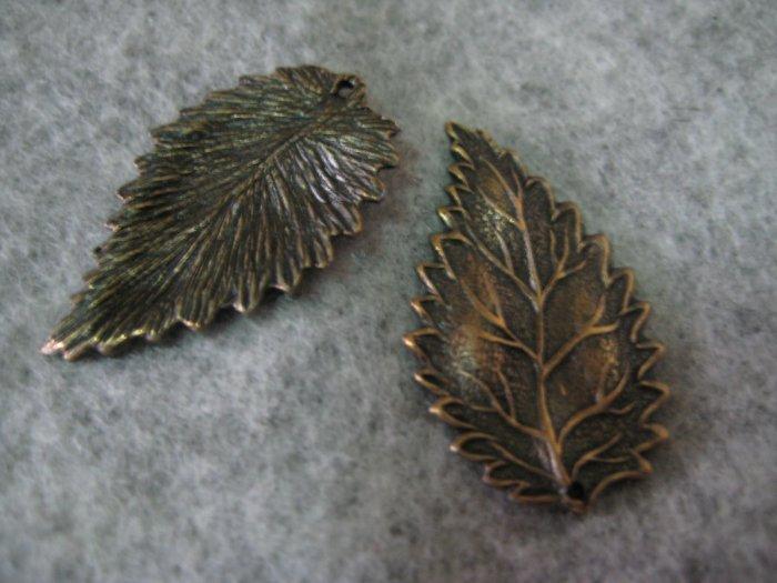 Leaf Charm, Brass, 17mm x 28mm