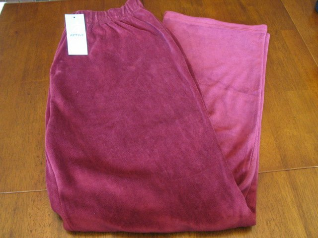 NWT I Active Velour Stretch Pants - Burgundy - 1X - Rt: $39.00