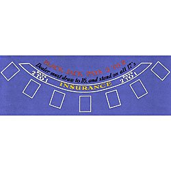 Blackjack Table Layout 36 x 72 Inch Blue Felt