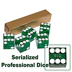 19mm Grade A Serialized Casino Dice - Set of 5 (Green)