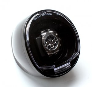 Versa Automatic Compact Single Watch Winder Box - AC Adapter - Black Case
