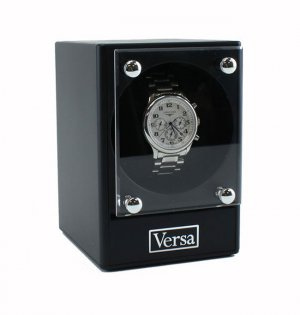 Versa Automatic Versa Stackable Single Watch Winder Black Box Display Case