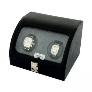 Eilux Double Automatic Classic Watch Winder - Black Leather