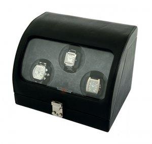 Eilux Triple Automatic Performance Watch Winder - Black Leather