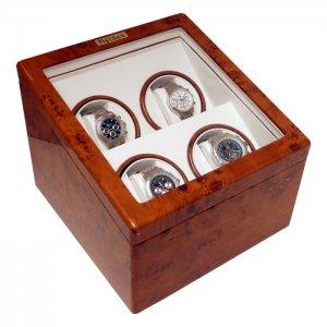 Heiden Automatic Quad Watch Winder - Burl Wood