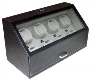 Heiden Automatic Eight Watch Winder - Black Leather