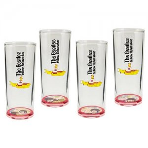 Vandor The Beatles Yellow Submarine 4-Piece 10-Ounce Drinking Glass Set