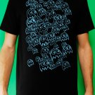 Pac Man Ghost Party Mens Blue ink on Black T-shirt