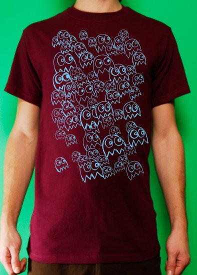 Pac Man Ghost Party Mens Blue ink on Burgundy T-shirt