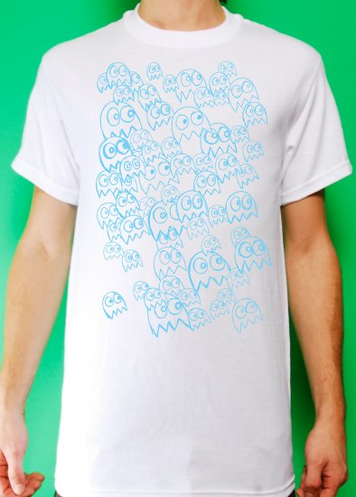 Pac Man Ghost Party Mens Blue ink on White T-shirt