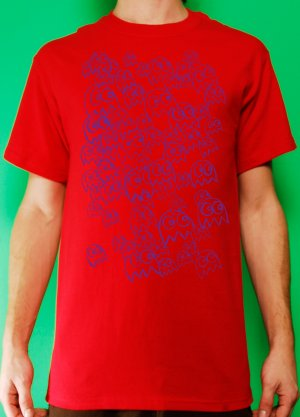 Pac Man Ghost Party Mens Purple ink on Red T-shirt
