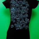 Pac Man Ghost Party Womens Blue ink on Black T-shirt