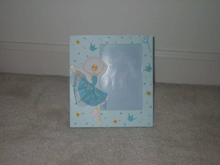 "Blue picture frame with a ballerina 4""x6"""
