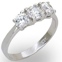 Sterling Silver 3 Stone Anniversary Ring