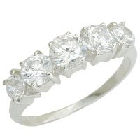 Sterling Silver Diamond CZ Anniversary Ring - size 6