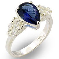 Unusual Pear Shaped Sapphire Ring - size 7