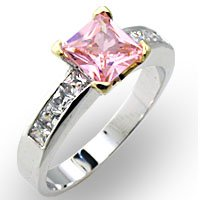 Sterling Silver 2 Tone Pink Ice Cubic Zirconia Ring - Size 6