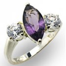 Sterling Silver Amethyst CZ Marquise Ring - Size 7