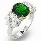 Emerald & Cluster CZ Sterling Silver Ring