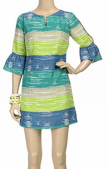 HERA CLOTHING Dress latern sleeve Stripe Turqoise Aqua Yellow Blue Sexy Mini $283