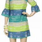 HERA CLOTHING Dress latern sleeve Stripe Turqoise Aqua Yellow Blue Sexy Mini $283