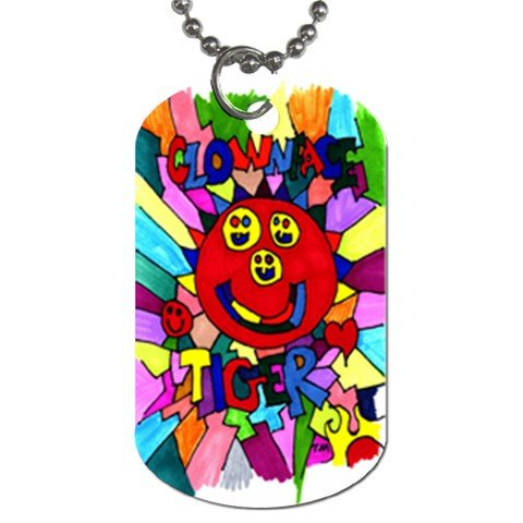 Clownface Tiger With Japanese LOVE Dog Tag (Two Sides)