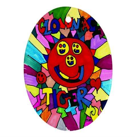 Clownface Tiger Ornament (Oval)