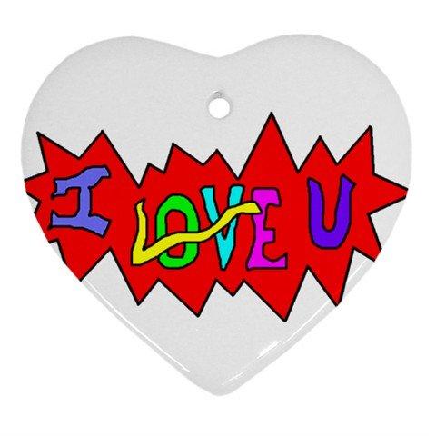 I Love U Ornament (Heart)