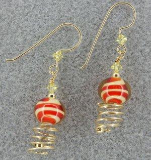 Passion Fruit orange lampwork earrings